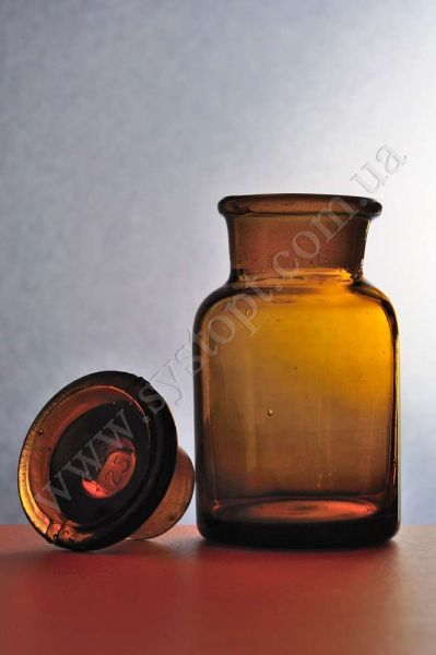 Бутлі для реактивів з пришліфованим корком, широке горло, темне скло
